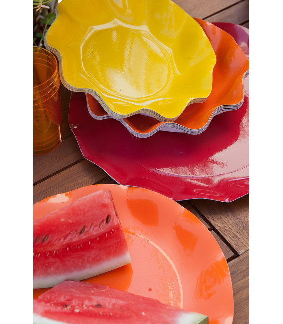 Piatti Piani di Carta a Petalo Rosso 27 cm