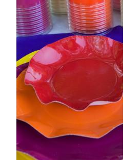 Piatti Fondi di Carta a Petalo Rosso 24 cm
