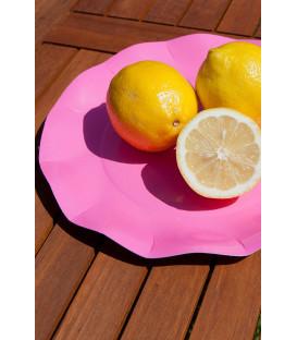 Piatti Piani di Carta a Petalo Rosa Pink