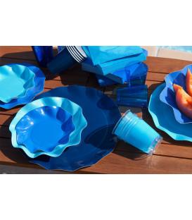 Piatti Piani di Carta a Petalo Blu Notte 27 cm