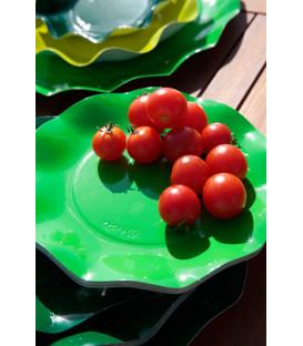Piatti Piani di Carta a Petalo Verde Prato 27 cm