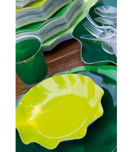Piatti Piani di Carta a Petalo Verde Scuro 24 cm