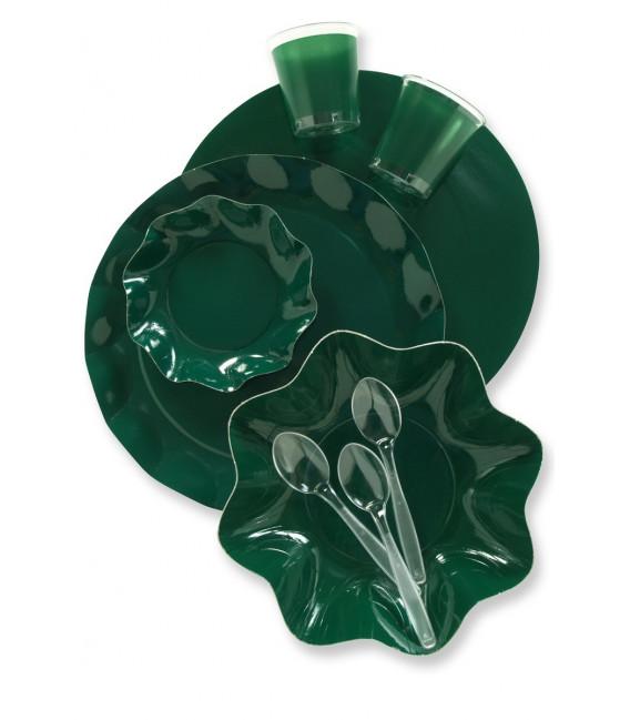 Piatti Fondi di Carta a Petalo Verde Scuro 18,5 cm