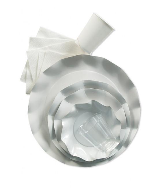 Piatti Piani di Carta a Petalo Bianco 27 cm