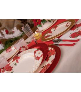 Piatti Fondi di Carta a Righe Stella di Natale