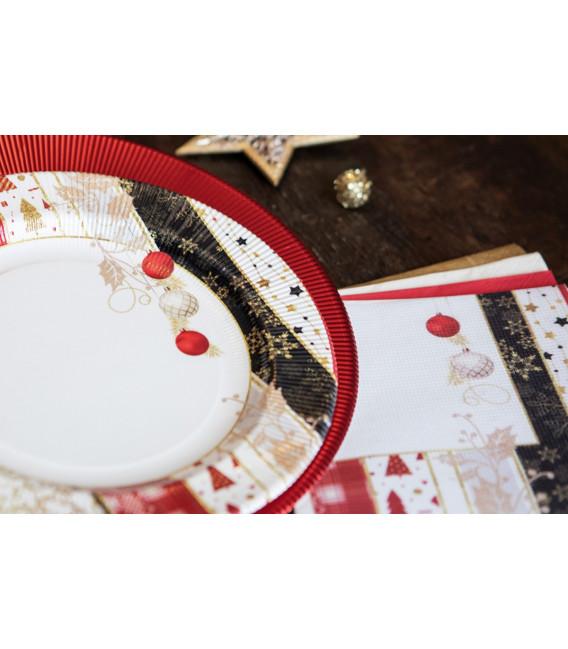 Piatti Piani di Carta a Righe Natale Patchwork