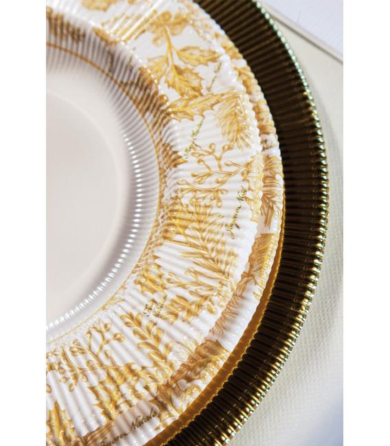 Piatti Fondi di Carta a Righe Foglie Oro 25.5 cm