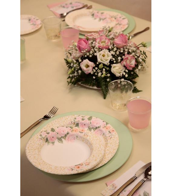 Piatti Piani di Carta a Righe Rose Flower