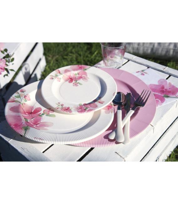 Piatti Piani di Carta a Righe Fiore Rosa 27 cm