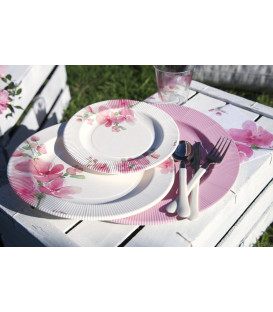 Piatti Piani di Carta a Righe Fiore Rosa