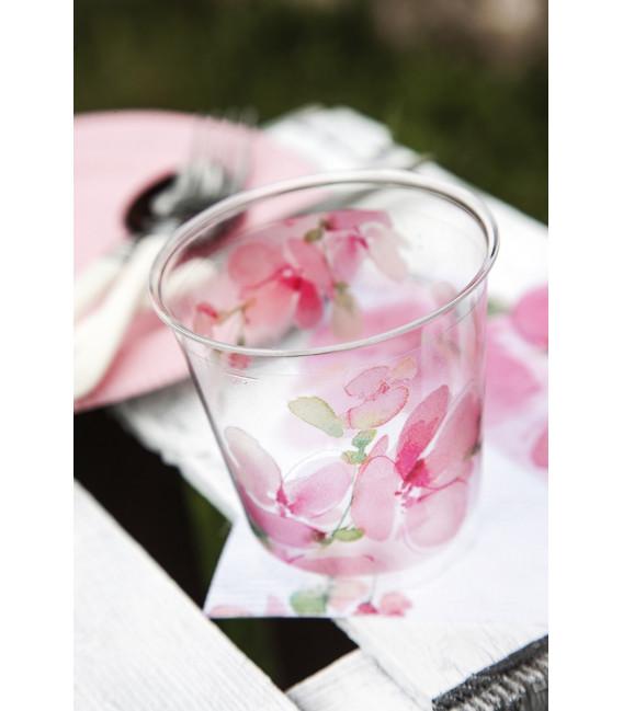 Bicchieri di Plastica Fiore Rosa 300 cc