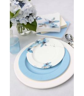 Piatti Piani di Carta a Righe Fiore Blu