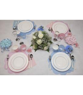 Piatti Piani di Carta a Righe Bordo Rosa Classic Pink 27 cm