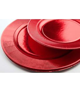 Piatti Piani di Carta a Righe Rosso Metallizzato