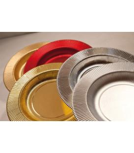 Piatti Piani di Carta a Righe Rosso Metallizzato Lucido 21 cm
