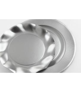 Piatti Piani di Carta a Righe Argento Metallizzato Satinato 21 cm