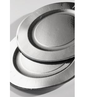 Piatti Fondi di Carta a Righe Argento Metallizzato Lucido 25,5 cm