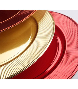 Piatti Fondi di Carta a Righe Oro Metallizzato Lucido 25,5 cm