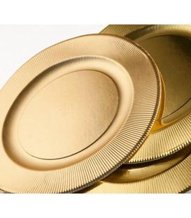 Piatti Fondi di Carta a Righe Oro Metallizzato Satinato 25,5 cm