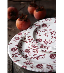 Piatti Piani a Righe Compostabili Natura Rosso 21 cm