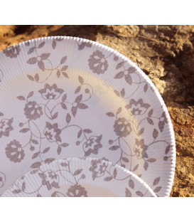 Piatti Piani di Carta a Righe Natura Taupe 100% Compostabili