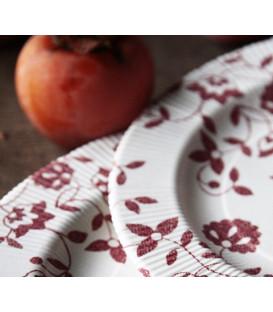 Piatti Piani di Carta a Righe Natura Rosso 100% Compostabili