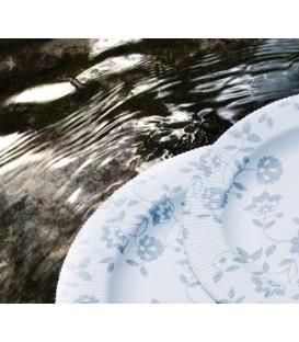 Piatti Piani di Carta a Righe Natura Argento 100% Compostabili
