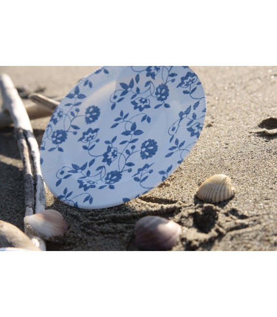 Piatti Piani di Carta a Righe Natura Blu 100% Compostabili