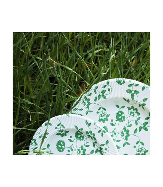 Piatti Piani di Carta a Righe Natura Verde 100% Compostabili
