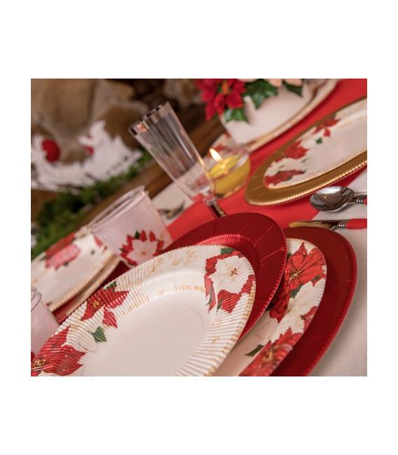 Piatti Piani di Carta a Righe Stella di Natale