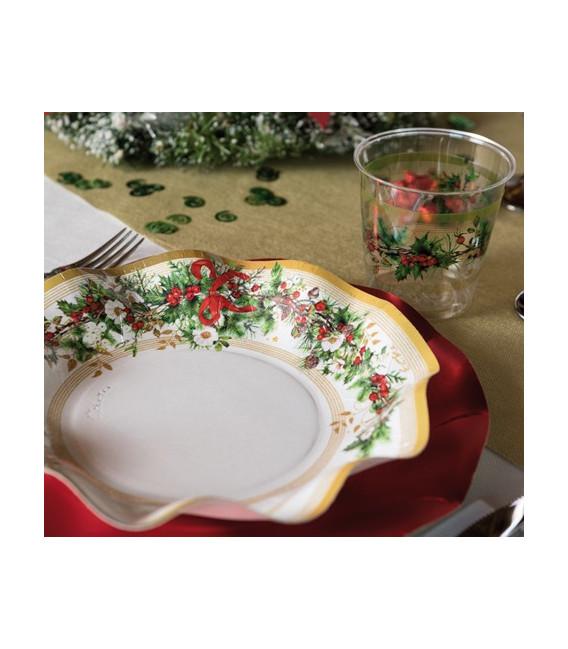 Bicchieri di Plastica Ghirlanda di Natale 300 cc 3 confezioni