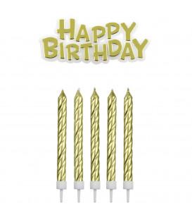 PME Candeline e Happy Birthday Dorate 17 Pz