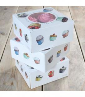 Box 4 Cupcakes 17 x 17 x 8 cm e Inserto 3 Pz FunCakes