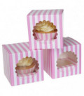 Box 1 Cupcake a righe Rosa 3 Pz House of Marie