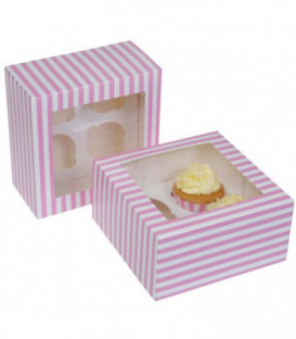 Box 4 Cupcake a righe Rosa 2 Pz House of Marie