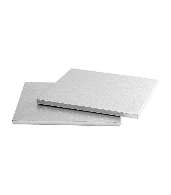 Sottotorta - Vassoio Rigido Quadrato Argento H 1,2 cm