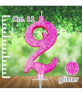 Candelina Fucsia Numero 2 Glitterata
