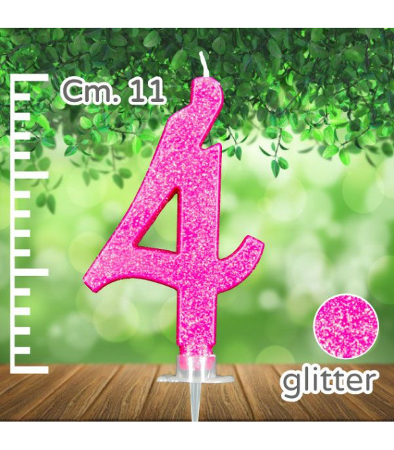Candelina Fucsia Numero 4 Glitterata