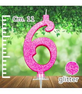 Candelina Fucsia Numero 6 Glitterata