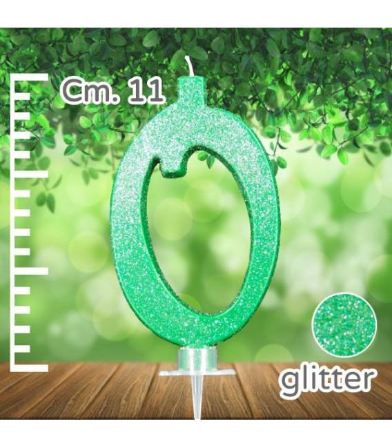 Candelina Numero 0 Verde Glitterato
