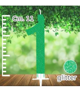 Candelina Numero 1 Verde Glitterato