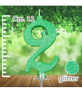Candelina Numero 2 Verde Glitterato