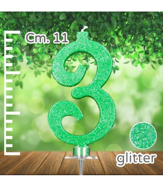 Candelina Numero 3 Verde Glitter