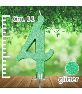 Candelina Numero 4 Verde Glitter