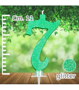 Candelina Numero 7 Verde Glitter