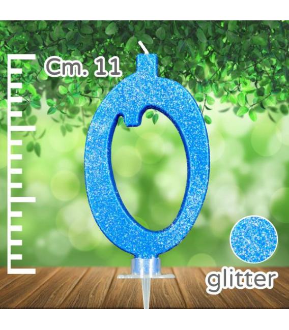 Candelina Numero 0 Azzurra Glitterata