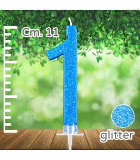 Candelina Numero 1 Azzurra Glitterata