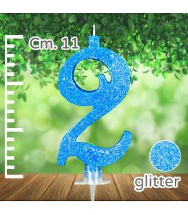 Candelina Numero 2 Azzurra Glitterata