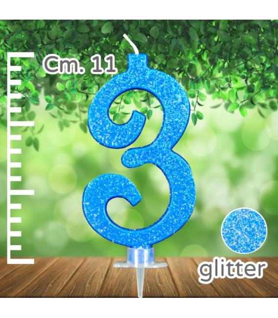 Candelina Numero 3 Azzurra Glitterata