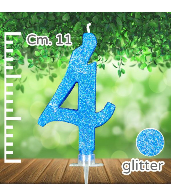 Candelina Numero 4 Azzurra Glitterata